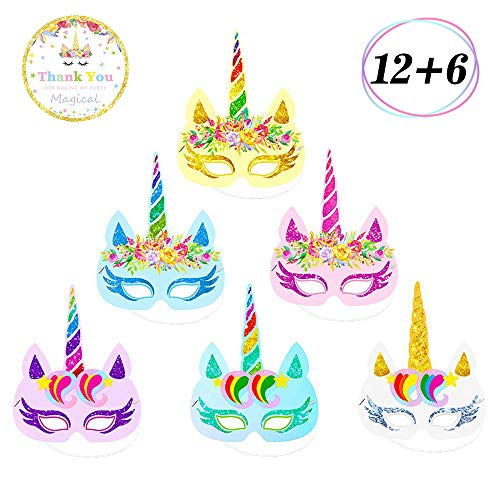 Yaaaaasss! 12 Pcs Rainbow Unicorn Masks Kids Birthday Unicorn Party Favors with Unicorn Theme Party Decor 6 pcs Thank You Stickers ()