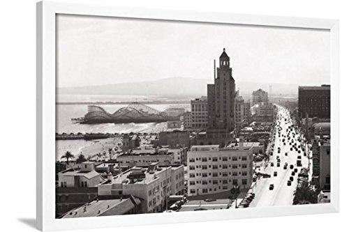 ArtEdge Ocean Avenue, Long Beach, 1940 Art Print, White Fram