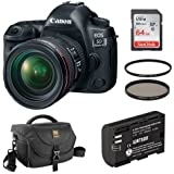 Canon EOS 5D Mark IV DSLR Camera with 24-70mm f/4L Lens Kit plus Extra LP-E6N Lithium-Ion Battery Pack, DSLR Shoulder Bag, 64GB Memory Card, Circular Polarizer & UV Filter Kit