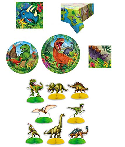 Unique Dinosaur Party Bundle | Luncheon & Beverage Napkins, Dinner & Dessert Plates, Table Cover | Great Pre-Historic/Animal Themed Parties
