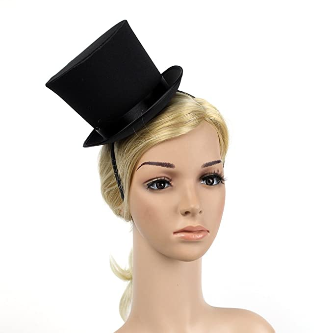 Steampunk Kids Costumes | Girl, Boy, Baby, Toddler Mini Black Top Hat Women 1920s Gatsby Costume Party Fancy with Black Band $15.97 AT vintagedancer.com