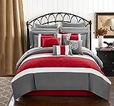 Chic Home Pisa 16 Piece Bed in a Bag Comforter Set, Queen, Red,