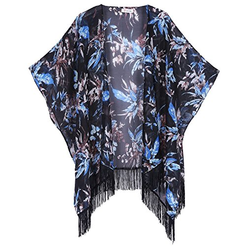 Soul Young Women's Floral Aztec Leopard Light Chiffon Beachwear Cover-ups Kimono