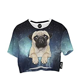 Fringoo Women Summer Festival Party T-Shirt Baggy Oversized Crop Top Cotton Jersey Varsity Fashion Girls Holiday Tee 8/10 / 12/14