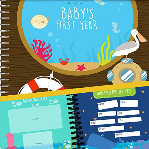 Baby´s First Year Hardcover Memory Book Under The Sea Edition - Newborn Babies 1st Year Journal And Milestones Photo Album - Perfect and Unique Gift Idea for Baby Showers and Birthday Presents