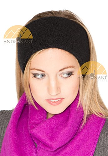 Synthetic Mohair (LUXURY ALPACA Ear Warmer Headband Ski/Snowboard/Sport Infused with JOJOBA Oil - BEST NATURAL THERMAL PROTECTION - Black - AndeanSun)
