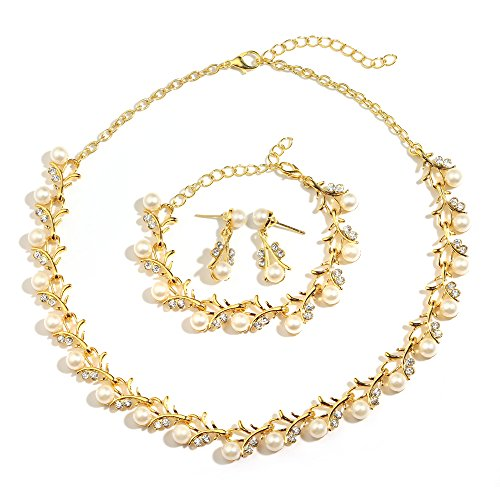 MOOCHI 18K Gold Plated White Simulated Pearls Crystal Twig Pattern Jewelry - Flower Gold Necklace Plated Earrings