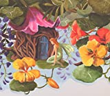 tinkerbell tree house - Peter Pan Tinker Bell Treehouse Colorful Flowers Wallpaper Border for Kids, Roll 15' x 10''