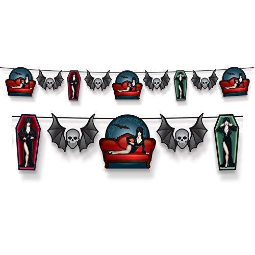 Club Pack of 12 Elvira's Queen of Halloween Strung Pennant Hanging Banners -