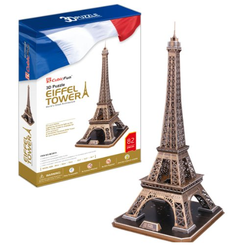 Eiffel Tower - World Great Architecture - 82 Pieces BIG SIZE 3D Puzzle - Cubic Fun Series