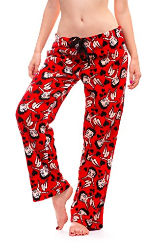 Betty Boop Women's Warm and Cozy Plush Pajama Bottoms (Small, Red)