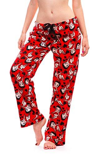 Betty Boop Womens Warm And Cozy Plush Pajama Bottoms  Medium  Red