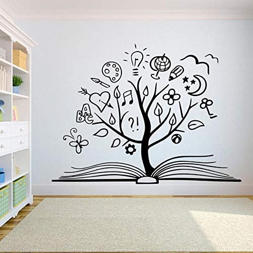 mlpnko Book Tree Wall Decal Creative Book Reading Room Library Classroom Vinyl Sticker Bookstore Decorative Mural 50X67cm