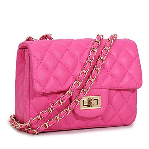 Melotfast Leder Damen Umhaengetasche Gesteppt Handtasche Schultertaschen Ketten Tasche mit Steppmuster und Kettenhenkel Fuer Frauen Damen Maedchen(Rosa Rot)
