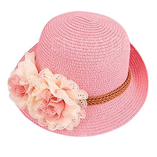 Dealzip Inc Cutest Summer Hats, Fashion Kids Little Girls Girly Summer Straw Beach Sun Hat Flower Accent (Pink)