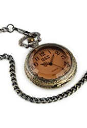 ESS Men's Stainless Steel Case White Dial Amber Front Antique Pocket Watch with Chain WP013-ESS