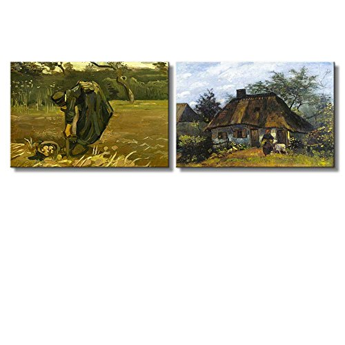 Cottage and Woman with Goat Peasant Woman Digging Up Potatoes by Vincent Van Gogh Oil Painting Reproduction in Set of 2 x 2 Panels