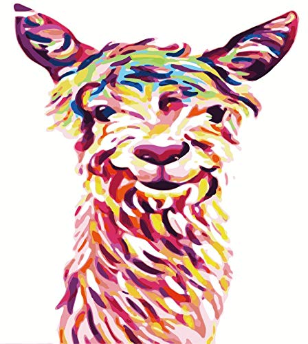 JOLOMOY Paint by Numbers Kits for Adults, DIY Digital Oil Painting by Number for Kids Beginner - Colorful Sheep Goat 16X20 inch Number Painting (Framed)