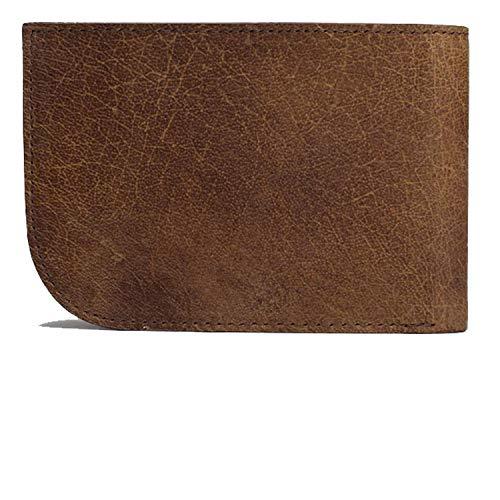 Slim Front Pocket Wallet by Saltrek | USA Designed, RFID Blocking Top Grain Leather Billfold, Rugged Brown Leather Ergonomic Wallet - Front Pocket Billfold