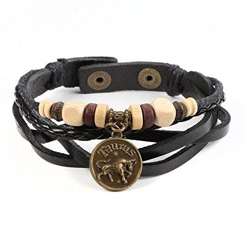 JewelrieShop Genuine Leather Bracelet for Men Constellation Braided Rope Bracelet Multilayer Adjustable Bangle Wrist Cuff Wristband Birthday Gift (Taurus - Black Leather)
