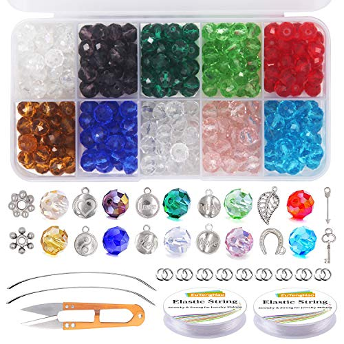 EuTengHao 605Pcs Crystal Glass Beads Kit with Faceted Beads Pendant Accessories Spacer Beads Bracelet String Open Jump Ring for Bracelet Necklaces Crafting Earrings Jewelry Making Supplies (10 Colors)