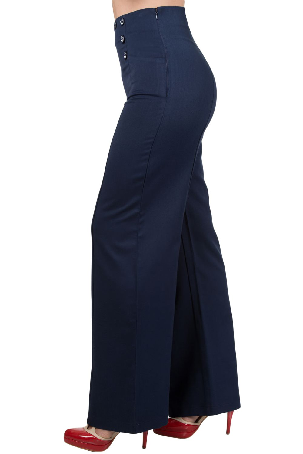 Banned 50's Vintage Sailor High Waist Double Buttoned Wide Leg bell flare Pants (S, Navy) by Banned Apparel (Image #3)