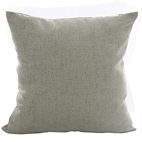 Deconovo Faux Linen Look Hand Made Pillow Case Cushion Cover 18×18 Inch Light Grey No Pillow Insert