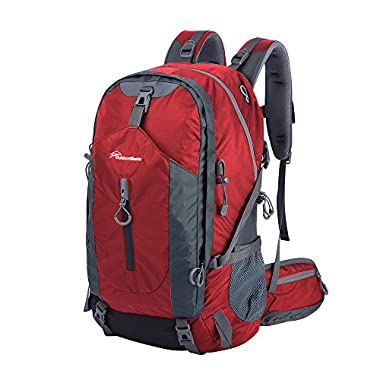 OutdoorMaster Hiking Backpack 50L with Waterproof Backpack Cover (Red/Grey)
