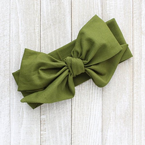 Britt's Bowtique Olive Green Fall Fabric Top Knot Turban Headwrap Big Bow Headbands, One Size Fits All - Headwrap Olive