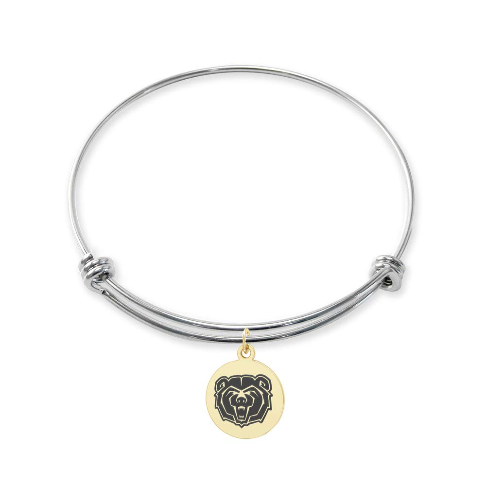 College Jewelry Missouri State Bears Stainless Steel Adjustable Bangle Bracelet with Yellow Gold Plated Round Charm