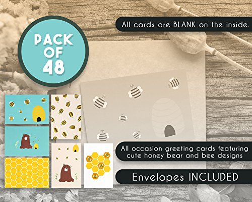 48 Pack All Occasion Assorted Blank Note Cards Greeting Cards Bulk Box Set -  6 Honey Bear Designs - Blank on the Inside Notecards with Envelopes Included - 4 x 6 Inches by Best Paper Greetings (Image #3)