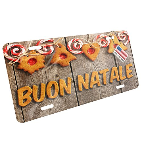 NEONBLOND Metal License Plate Merry Christmas in Italian from Italy, Vatican City, San Marino