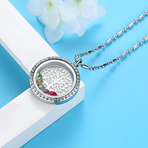 Family Tree of Life Birthstone Necklace Jewelry - Gifts for Mom Floating Charm Living Memory Lockets Pendant, Mother's day gifts, Birthday Gifts, Christmas day gifts, Anniversary Thanksgiving gifts by Feilaiger (Image #5)