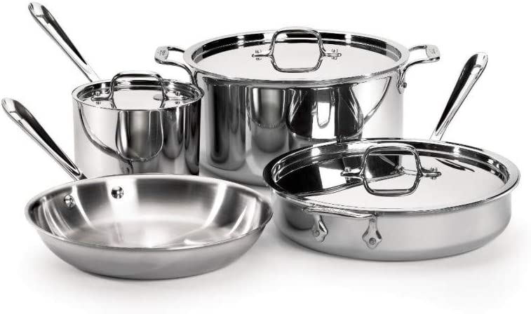 Best stainless steel cookware reviews. All-clad Stainless Steel 7-pc Cookware Set