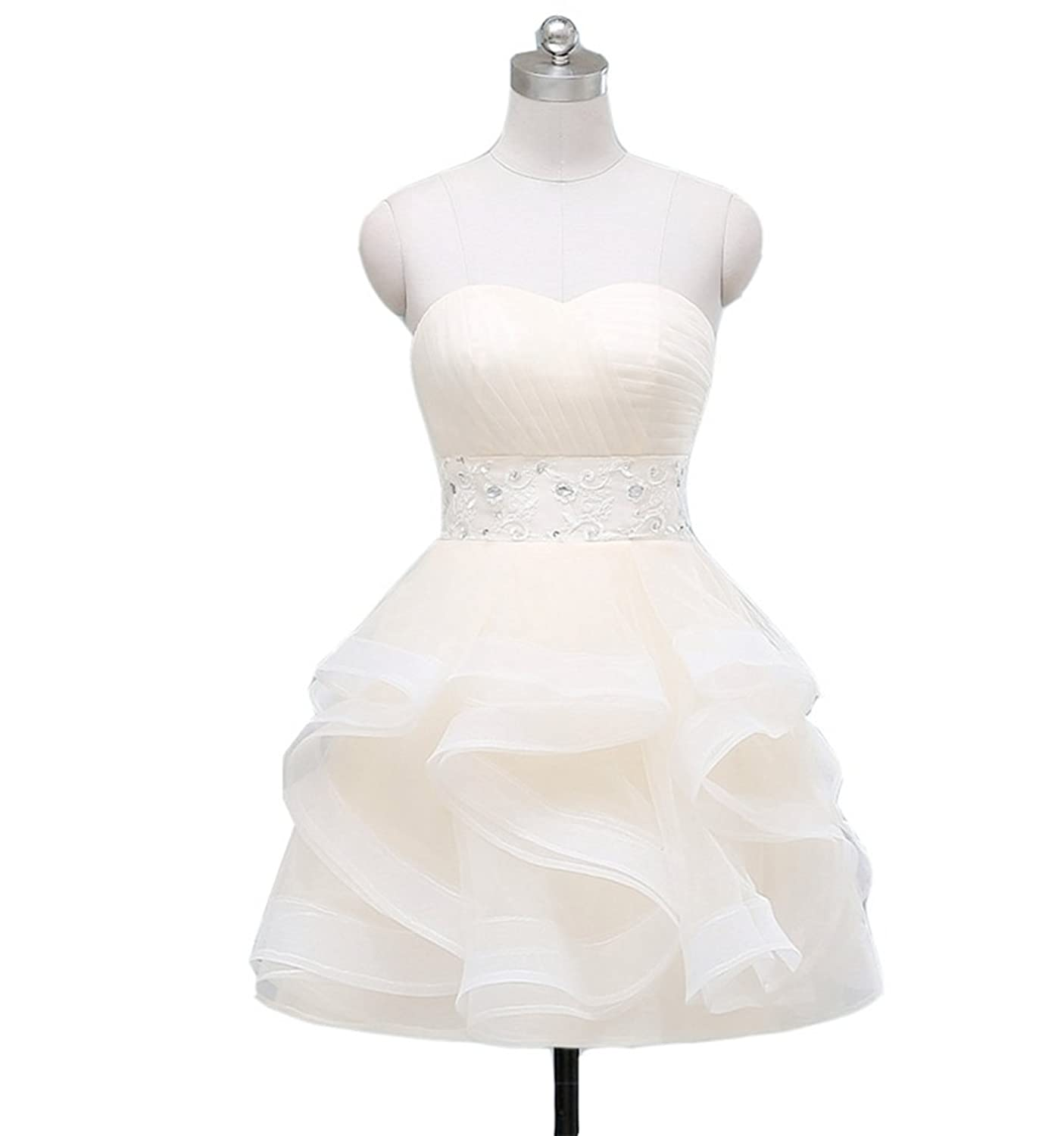 Emmani Women's Short Sweetheart Organza Tiered Homecoming Dresses Party Gown