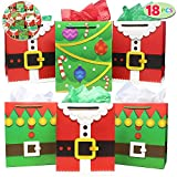 18 Pack of Santa Claus Suit Medium Gift Bags; 3 Christmas Designs Goodie Bags for Classrooms, Party Favors, Small Gift Bags, Kraft Holiday Gift Bags and Christmas Craft Bags by Joiedomi: more info