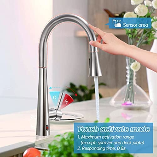 Touchless & Touch Activation Pull Down Kitchen Faucet , ARRISEA High Arc Sink Faucets with Deck Plate, Brushed Nickel Stainless Steel Faucets with 30 inches Supply Line, Updated Infrared Version