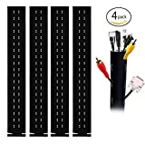 Cable Management Sleeve,Flexible Neoprene Cable Wrap for PC/ TV/ Office/ Phones/ Speakers Cable Cord Organizer,4 Pack of 40 Inch