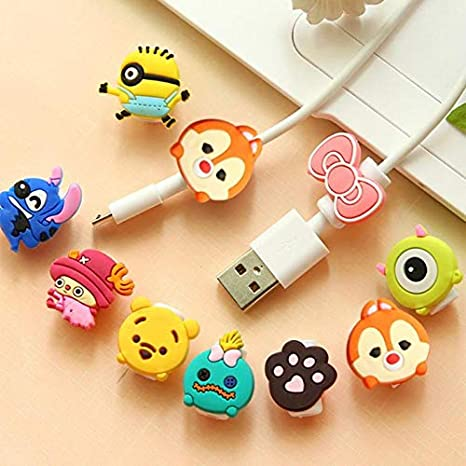 Digital Cables Lovely Cartoon Charger Cable Winder Protective Case Saver 8 Pin Data Line Protector Earphone Cord Protection Sleeve Wire Cover Cable Winder
