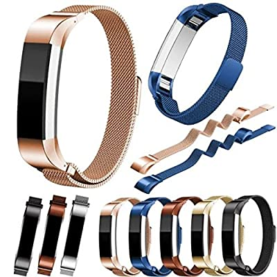 Bon Tech Stainless Steel Milanese Mesh Bands with Adjustable Magnetic Clasp for Fitbit Alta