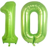 Green Foil 40 in 10 Helium Jumbo Number Balloons, 10th Birthday Decoration Digital Balloon for Women or Men, 10 Year Old Party Supplies
