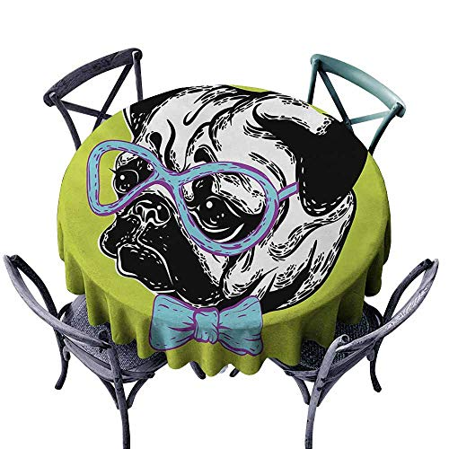 - VIVIDX Washable Round Tablecloth,Pug,Cute Dog with a Bow Tie and Nerdy Glasses on Green Shade Backdrop,Table Cover for Kitchen Dinning Tabletop Decoratio,70 INCH,Apple Green Pale Blue Lavender