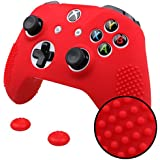 Pandaren Studded Anti-Slip Silicone Cover Skin Set for Xbox One S/Xbox One X Controller (Red Skin X 1 + Thumb Grip X 2)