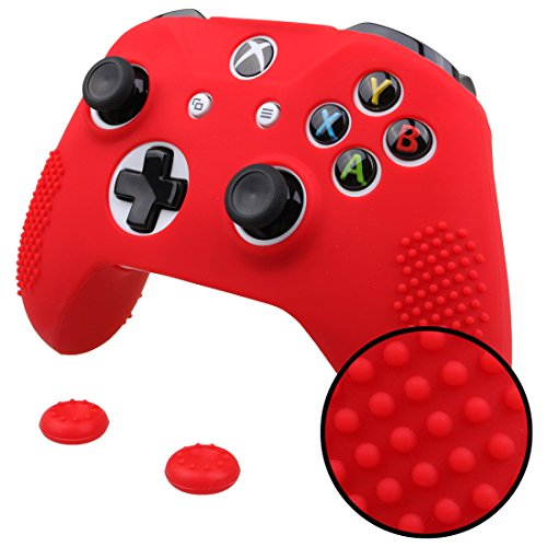 Pandaren STUDDED Anti-slip Silicone Cover Skin Set for Xbox One S / Xbox One X Controller (Red Skin X 1 + Thumb Grip X 2) ()
