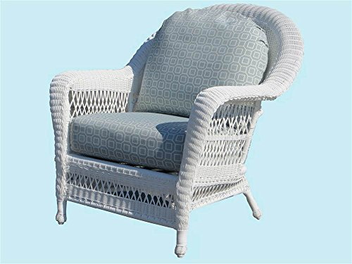 Wicker Armchair with Cushion (Solar Kiwi (All Weather)) by Spice Island Wicker