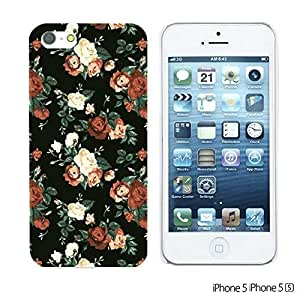 OnlineBestDigital - Fabric Pattern Hard Back Case for Apple iPhone 5S / Apple iPhone 5 - Red Roses In Black Background