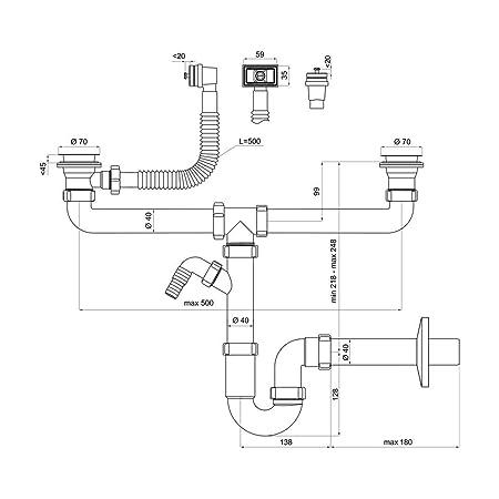 Fantastisch Doppelter Siphon für Spülbecken mit Anschluss an Geschirrspüler  KE17