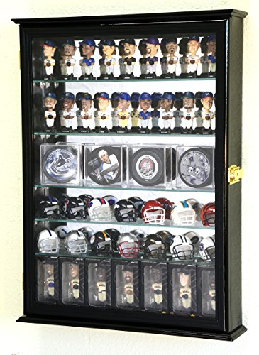 Bobble Head Display Case - Mini Bobblehead / Pocket Pro Helmet /Hockey Puck / Mini Stanley Cup Trophies Display Case Cabinet w/Adjustable Shelves (Black Finish)