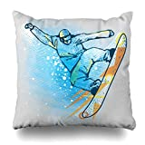 Decor.Gifts Throw Pillow Covers Athletic Blue Snowboarder Jump On Graphics Snowboard Sports Recreation