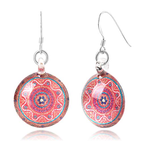 (Sterling Silver Hand Blown Venetian Murano Glass Orange Mandala Flower Round Dangle Earrings)